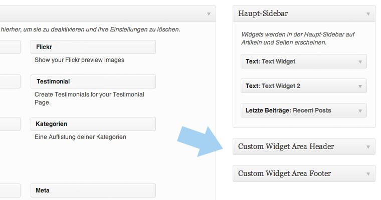 Eigene Widget-Bereiche unter Design / Widgets.