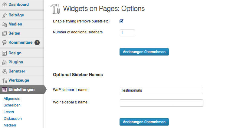 Die Plugin-Einstellungen von Widget on Pages.
