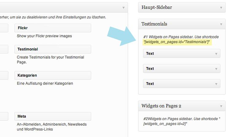 Die neuen Widget-Bereiche mit eigenem Shortcode