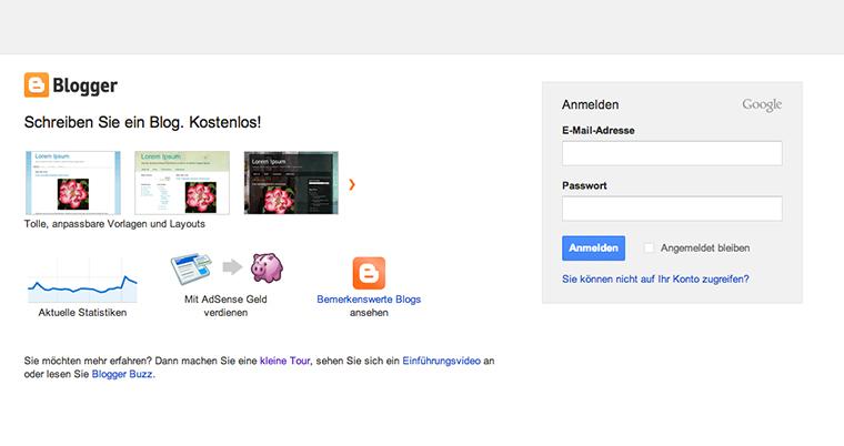 Die Blog-Anmeldung bei Blogger über dein Google-Konto.