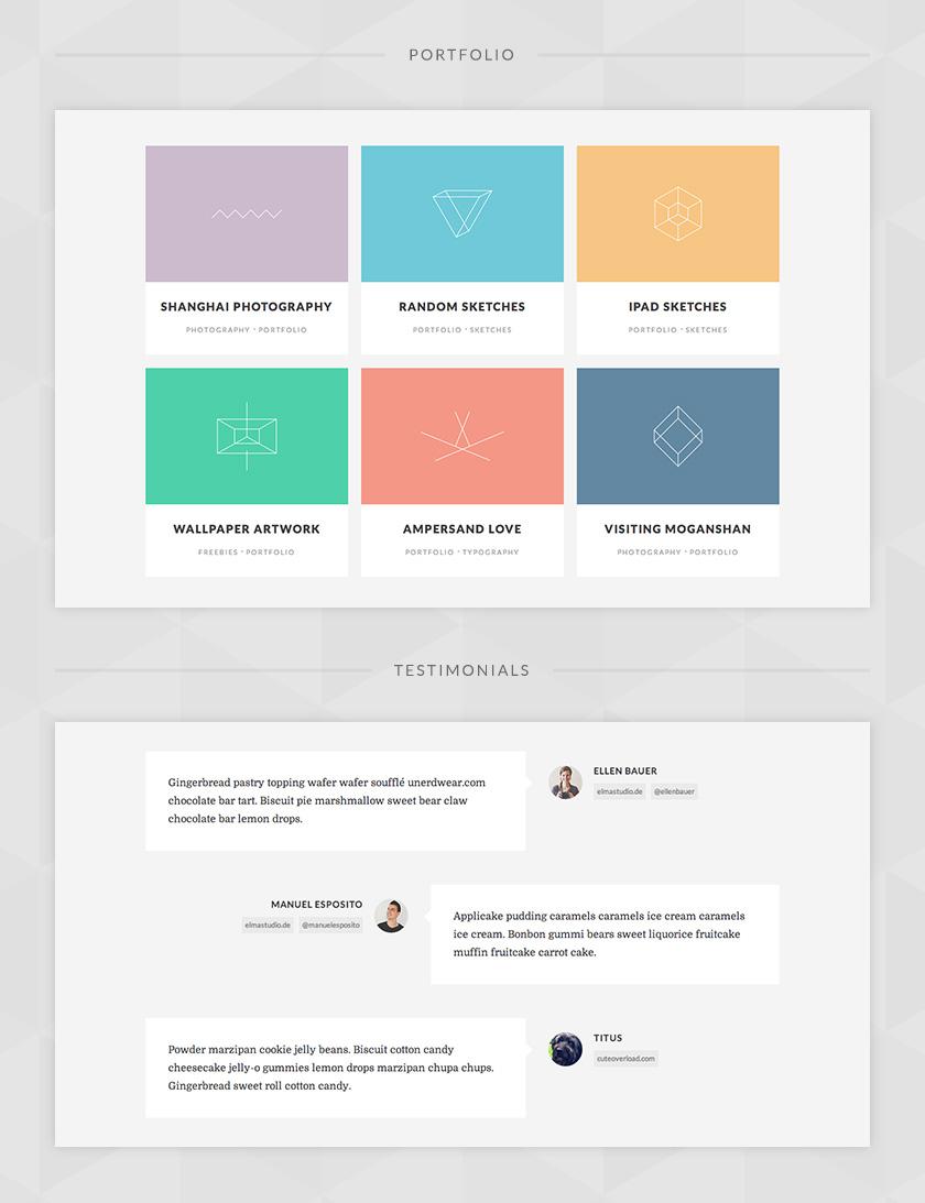 Portfolio- und Testimonials-Widgets für deine Seiten.