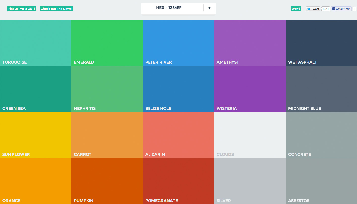 Beautiful colors for your next flat web design project.