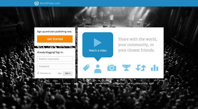 Anmeldung bei WordPress.com.