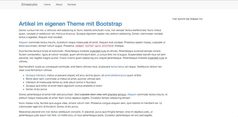 Am Ende des Tutorials hast du ein Theme erstellt, das so aussieht: Das typische Bootstrap-Design