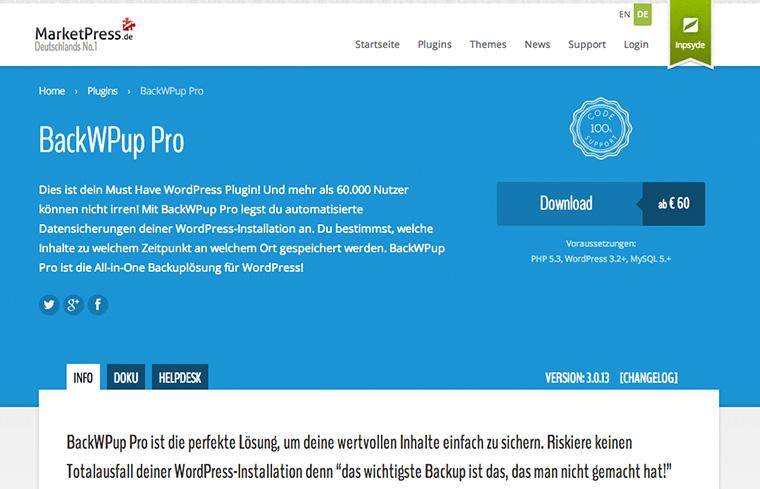 Die Pro-Version von BackUpWP mit deutschsprachigem Support.