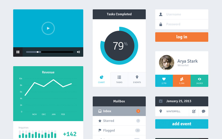 Flat Design UI Freebie Kit von Riki Tanone auf Dribbble.