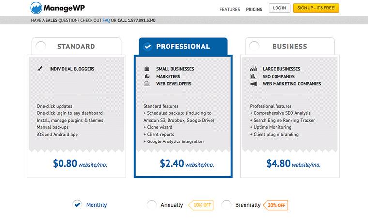 Das Angebot von ManageWP, inkl. Backup-Möglichkeiten.