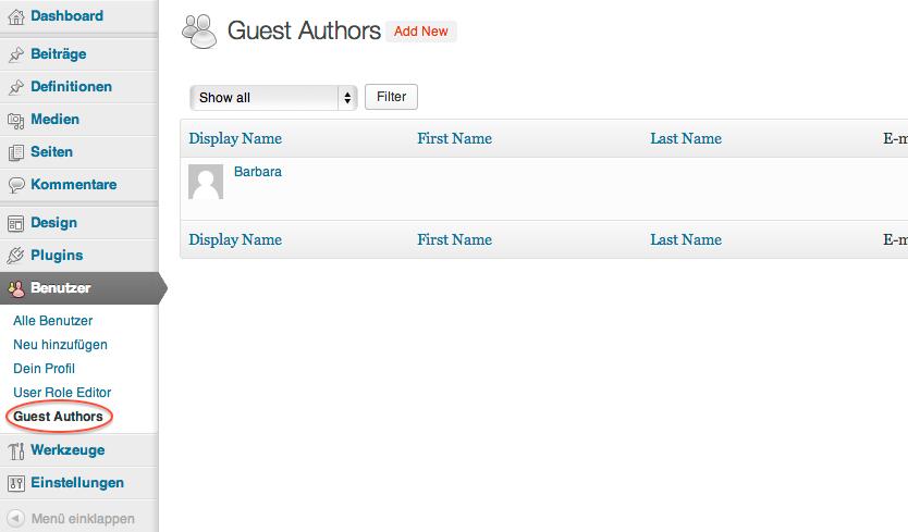 Unter dem Menüpunkt Benutzer kannst du Informationen für Gastautoren hinterlegen.