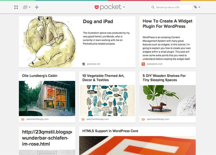 Wichtige Artikel, Bilder und Videos in Pocket speichern.