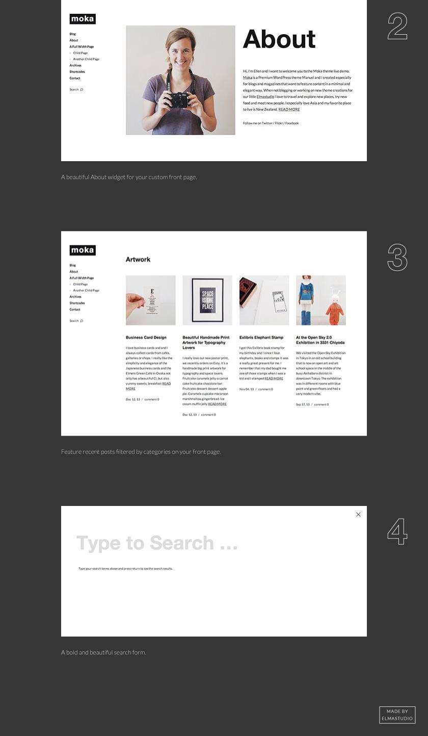 Die Widget-Bereiche der Front-Seite und eine minimalistische Suche.