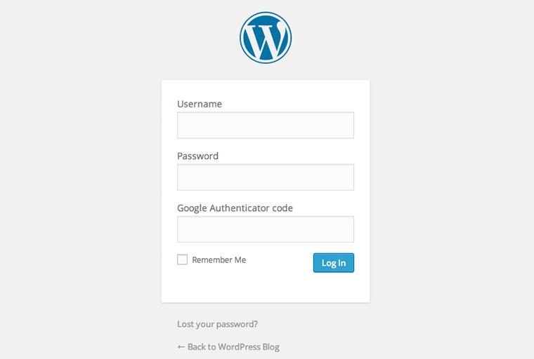 Der Google Authenticator Code muss im WordPress-Login eingetragen  werden.