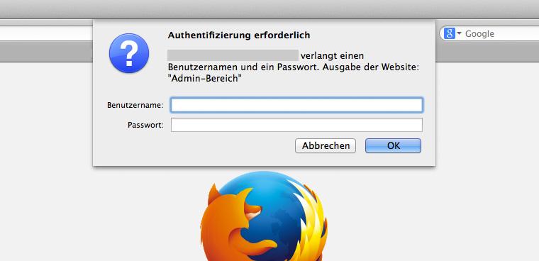 Zusätzliche Passwort-Abfrage über die .htaccess Datei.