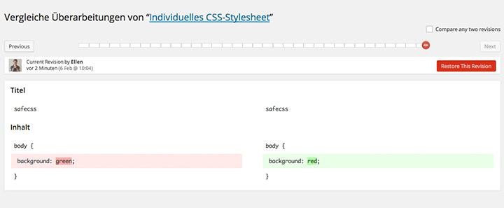 CSS Revisionen im Jetpack Custom CSS Feature.