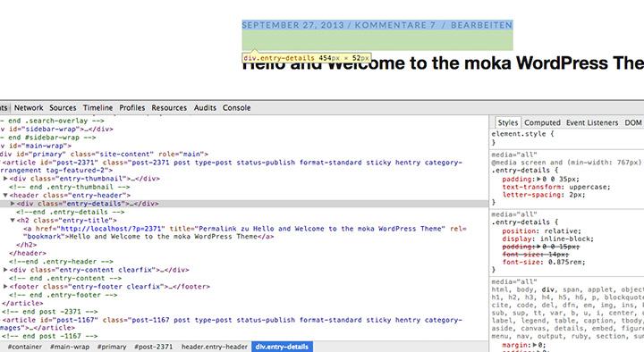 Die Element untersuchen-Funktion im Chrome-Browser.