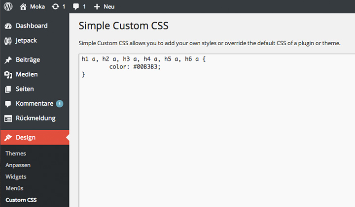 Simple Custom CSS im WordPress Admin-Bereich.