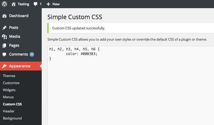 Simple Custom CSS in the WordPress admin panel.