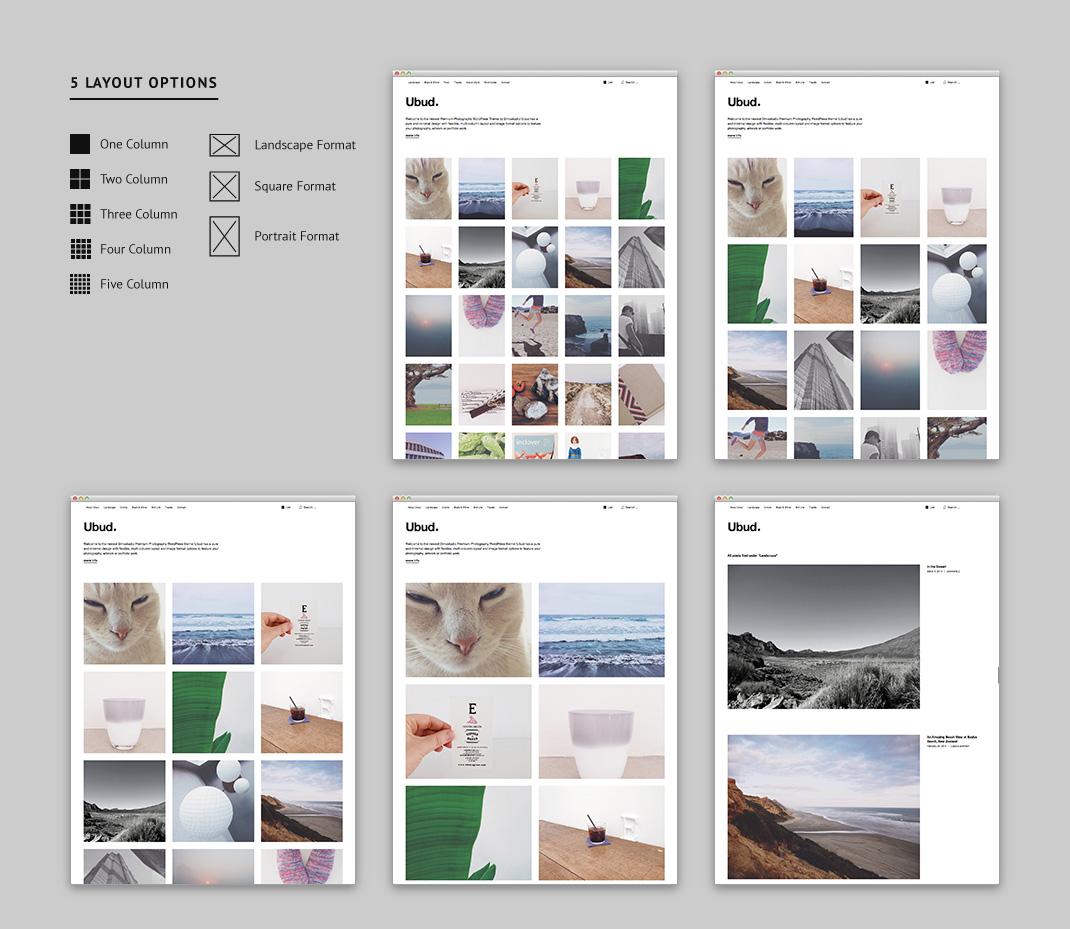 Ubud hat fünf verschiedene Spaltenansichten und drei Bildformate zur Auswahl.