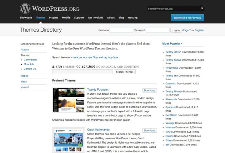 Free-Themes Verzeichnis bei WordPress.org.