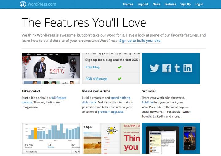 Diese Features kannst du bei WordPress.com nutzen.