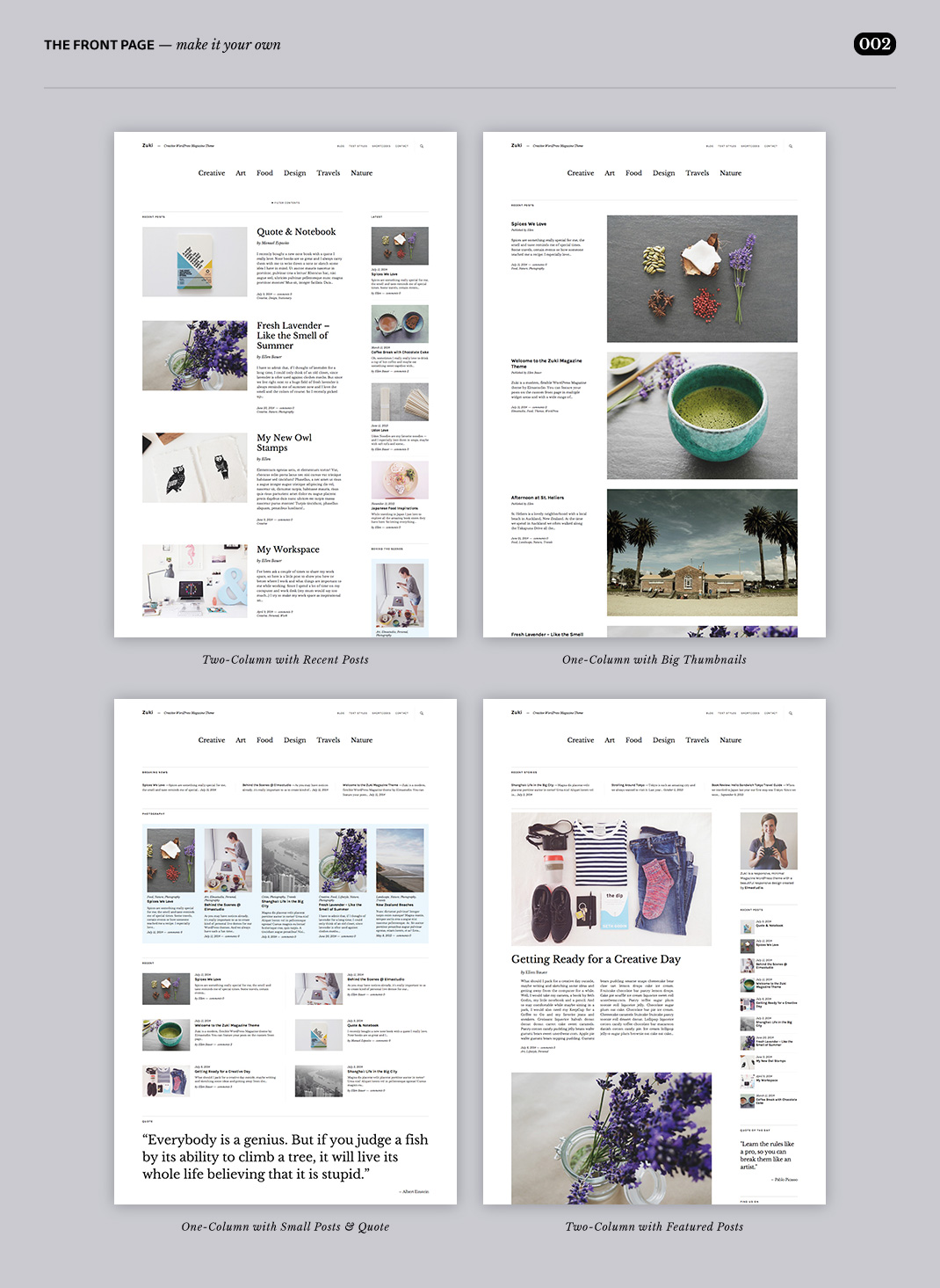 The Zuki Front Page offers a huge variety of layout options.