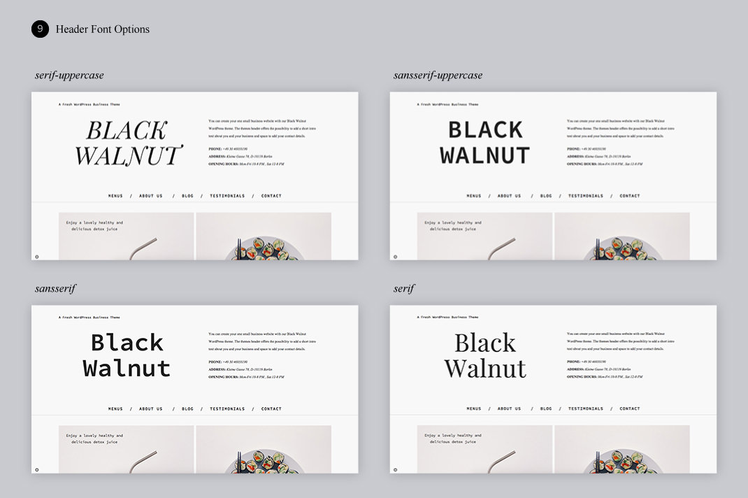 Black Walnut Header Fonts