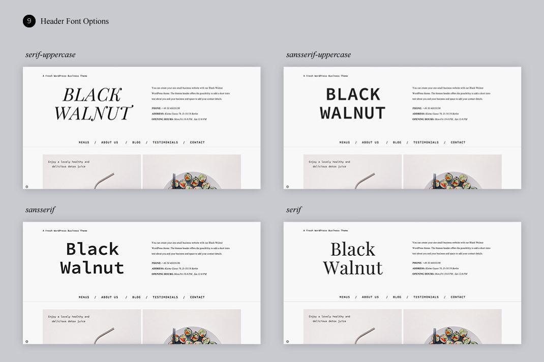 Black Walnut Header Fonts