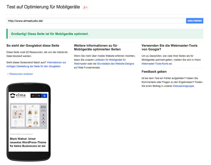 Elmastudio im Google-Test für mobile Geräte optimierte Webseiten.