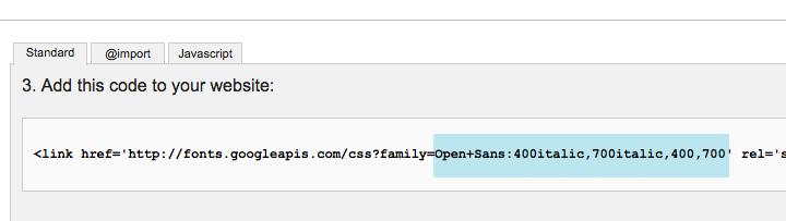 Der Code, der auf der Google Fonts Webseite angegeben wird.