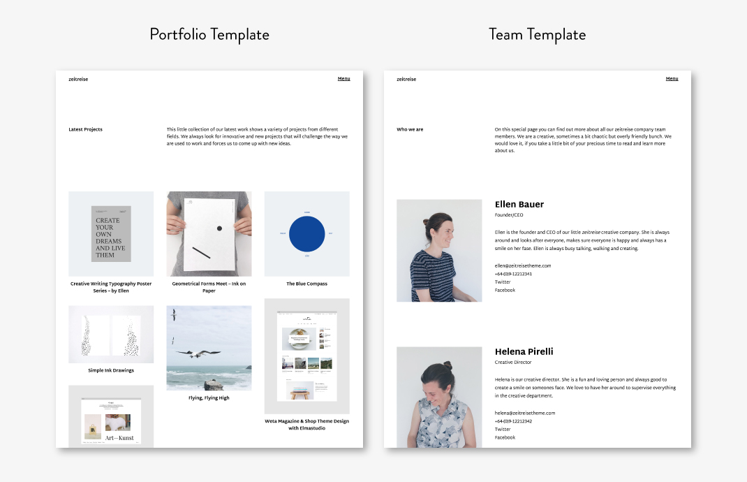 The Portfolio (showing the three-column grid layout) and die Team Page Template.