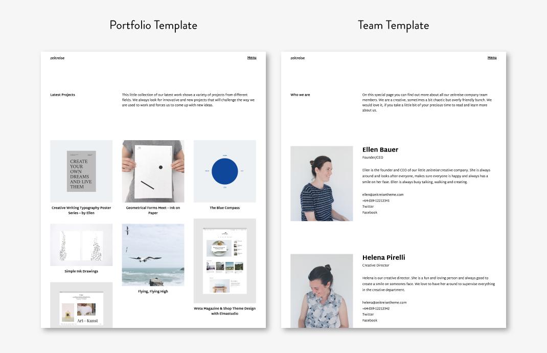 Das Portfolio (in der 3-spaltigen Ansicht) und die Team-Seite.