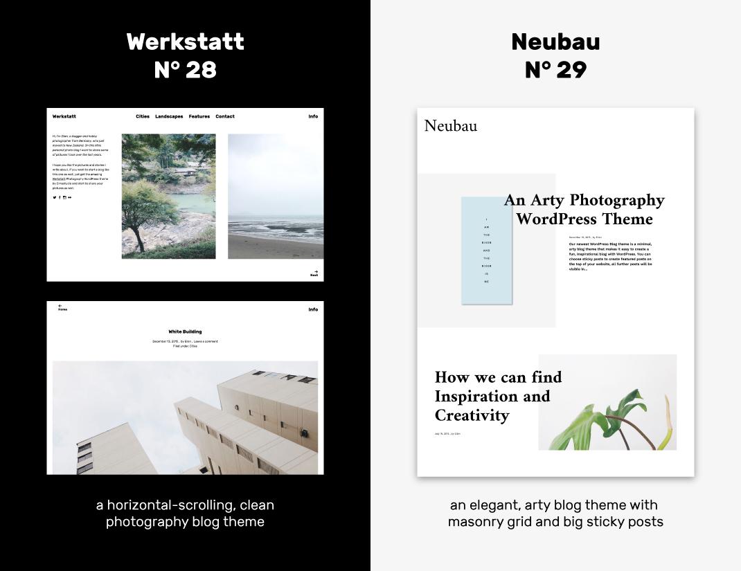Werkstatt und Neubau: Zwei neue WordPress Blog-Themes für Fotografie ...