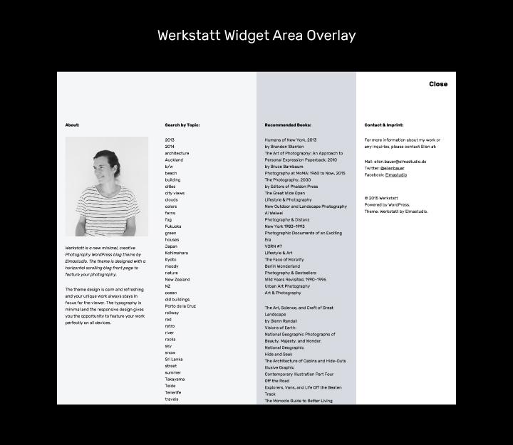 Der Widget-Overlaybereich bietet jede Menge Platz für Widgets.
