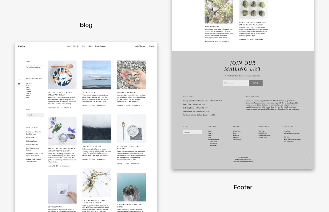 The blog and footer of the Hawea theme.