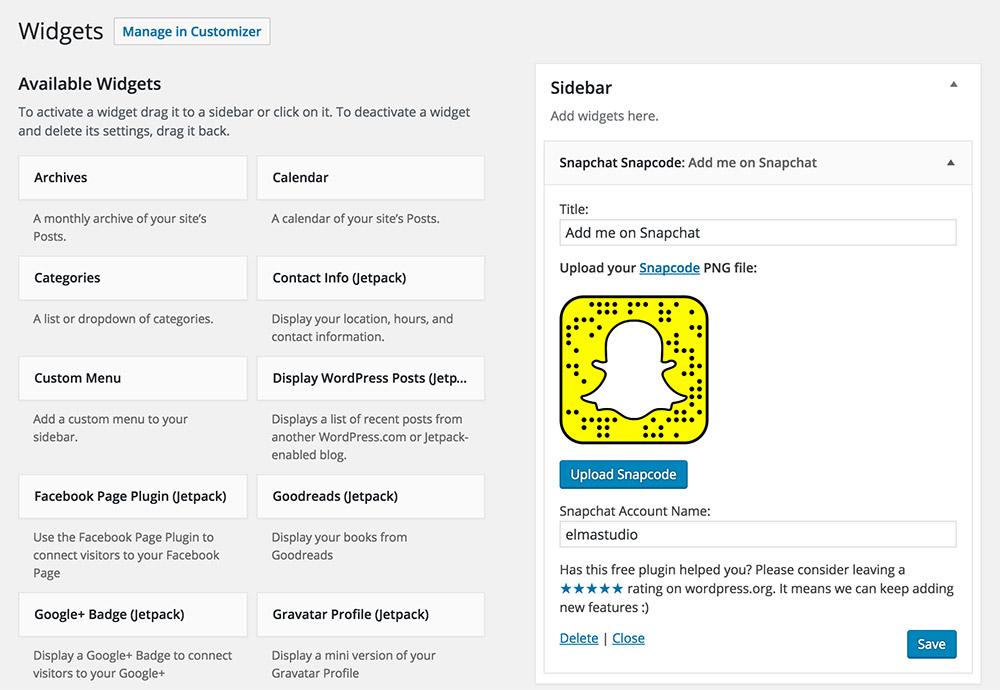 The Snapchat Snapcode widget.