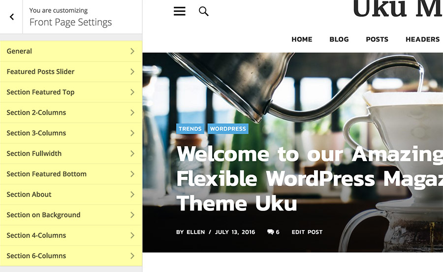 Uku Front page settings in the Customizer.