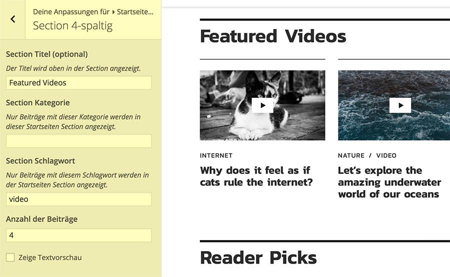 """Vier Beiträge mit dem Schlagwort """"Videos"""" in der 4-spaltigen Section."""