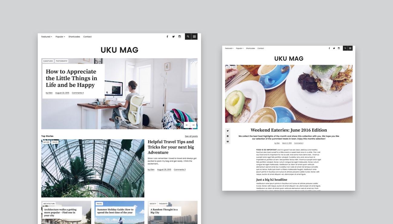 Das Uku Theme Mit Neuem Design Stil Und Zweiter Live Demo