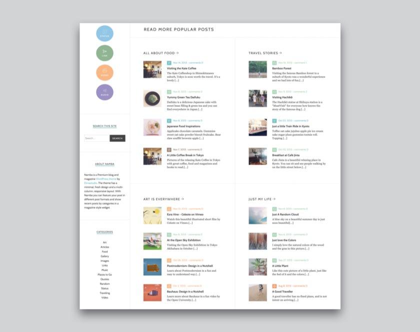 Namba WordPress Blog Theme
