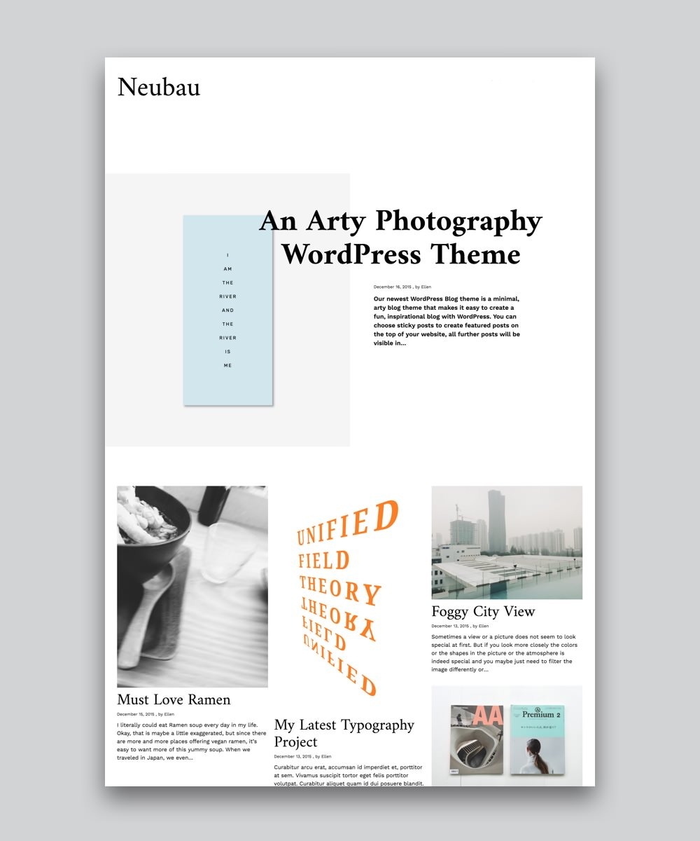 Neubau Premium Masonry Blog WordPress Theme