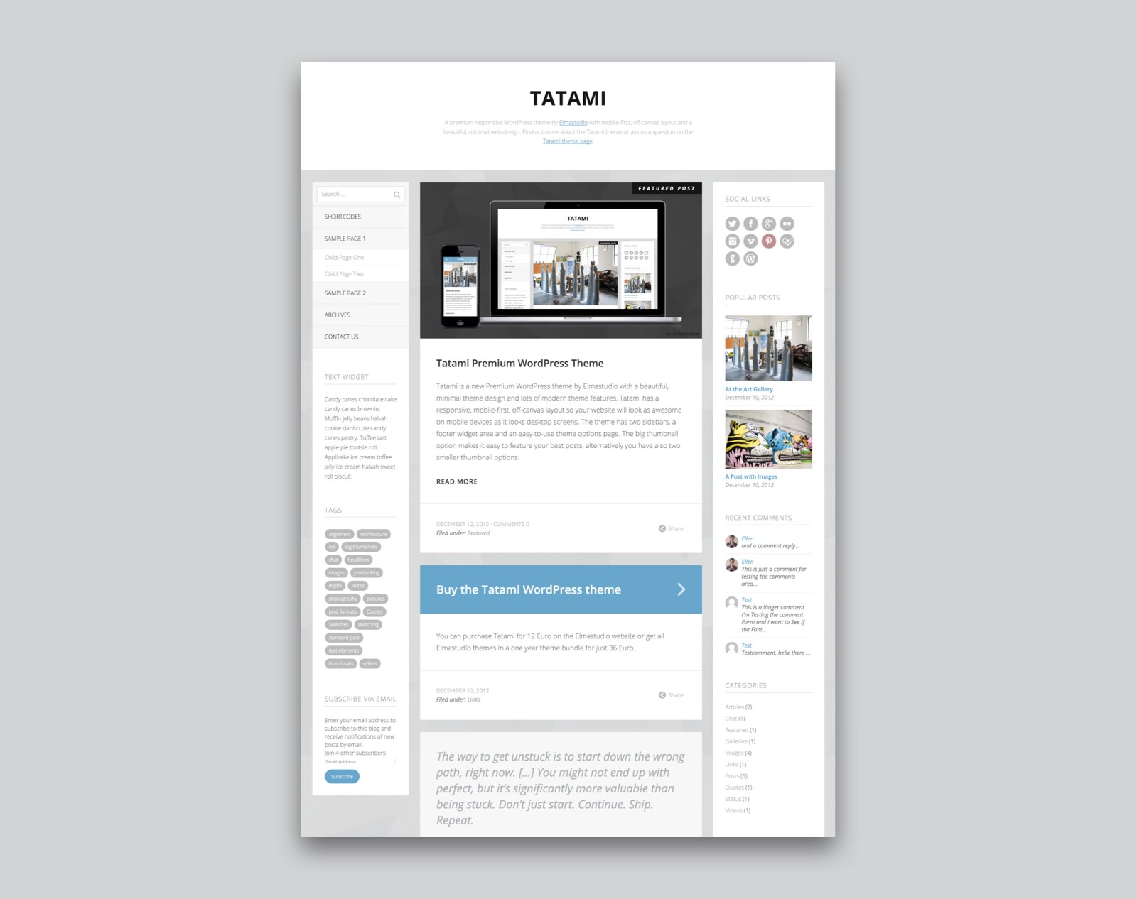 Tatami WordPress Blog Theme