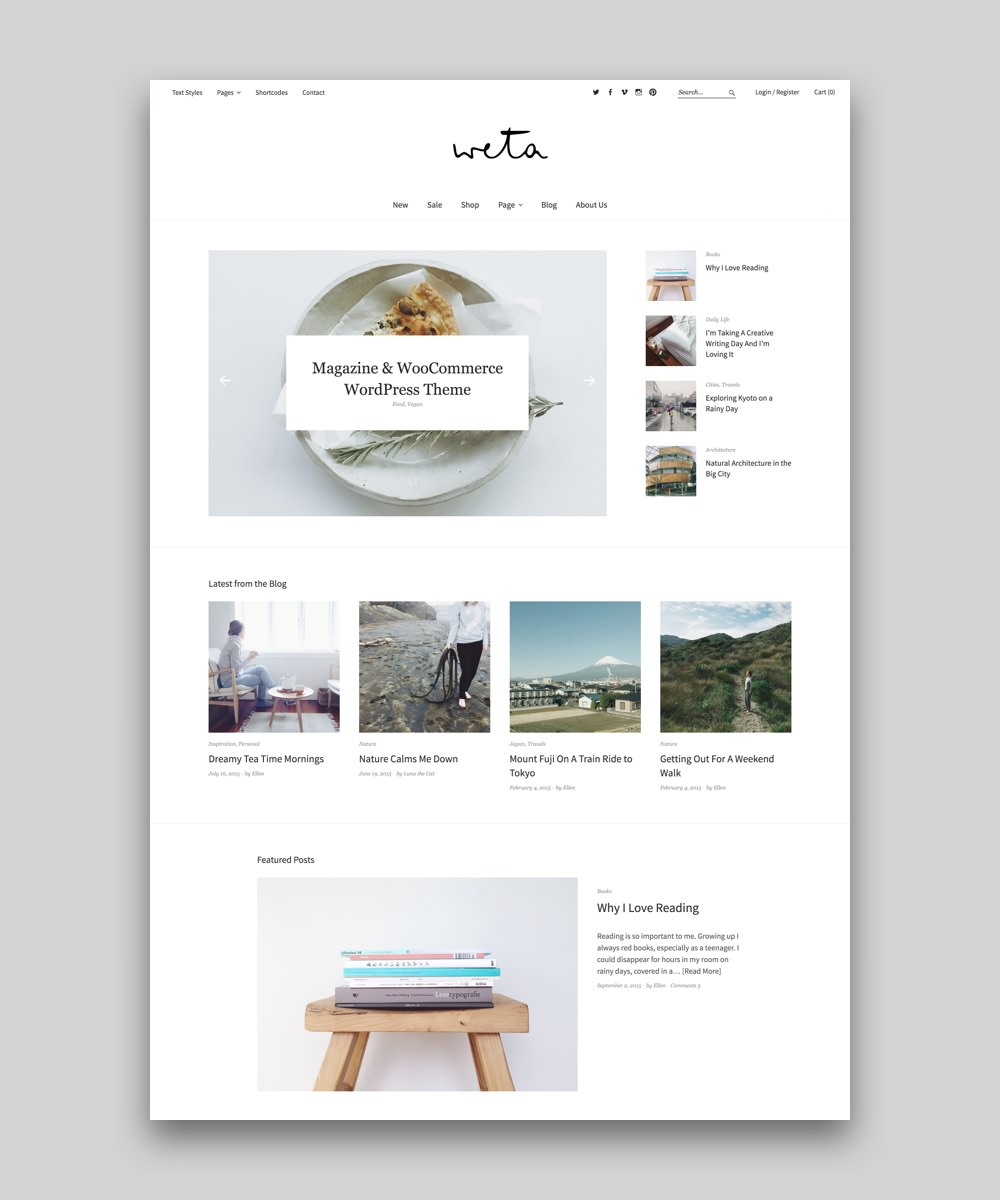 Weta Premium responsive Magazin und WooCommerce Shop WordPress Theme