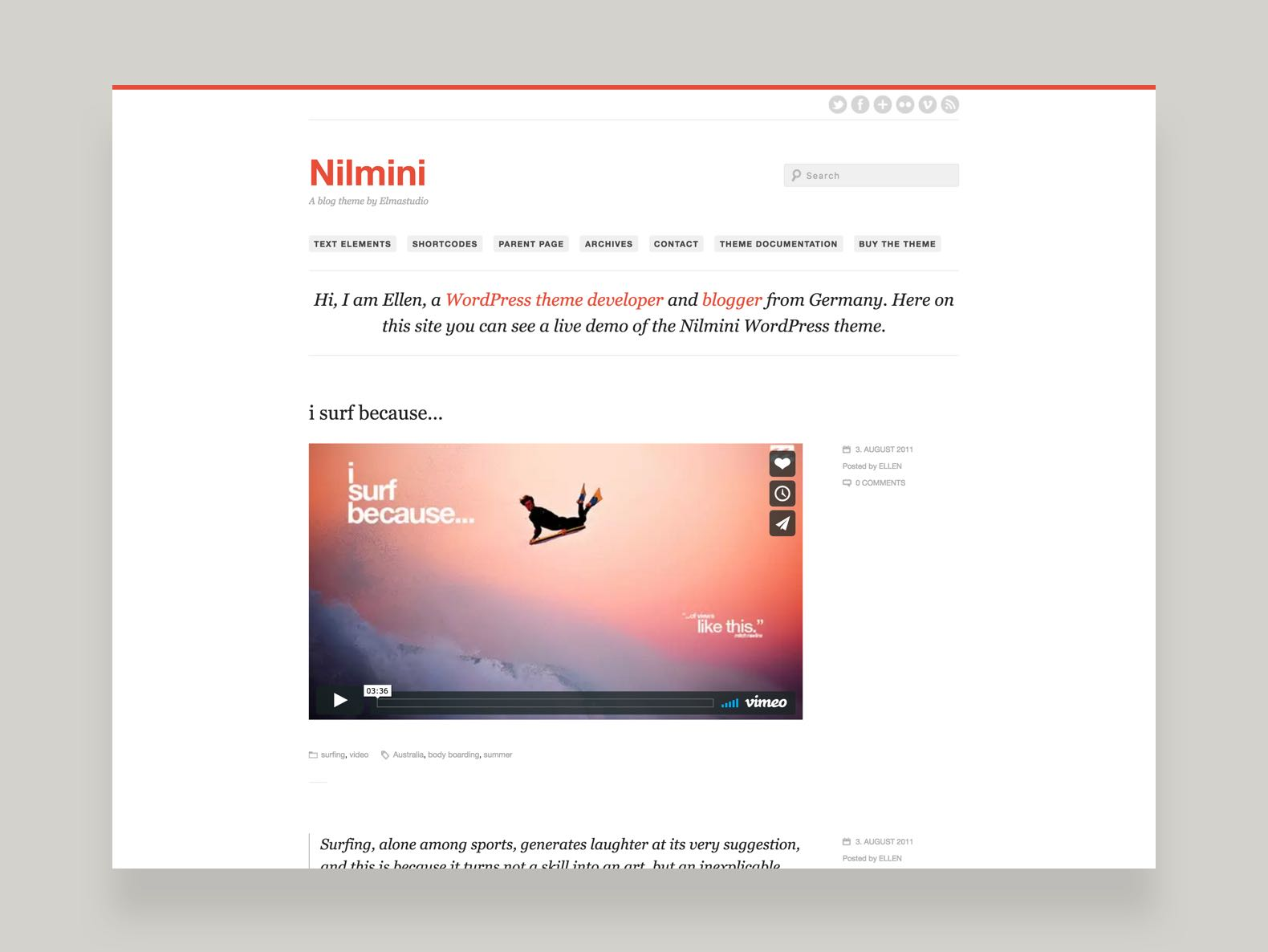 Nilmini WordPress Blog Theme