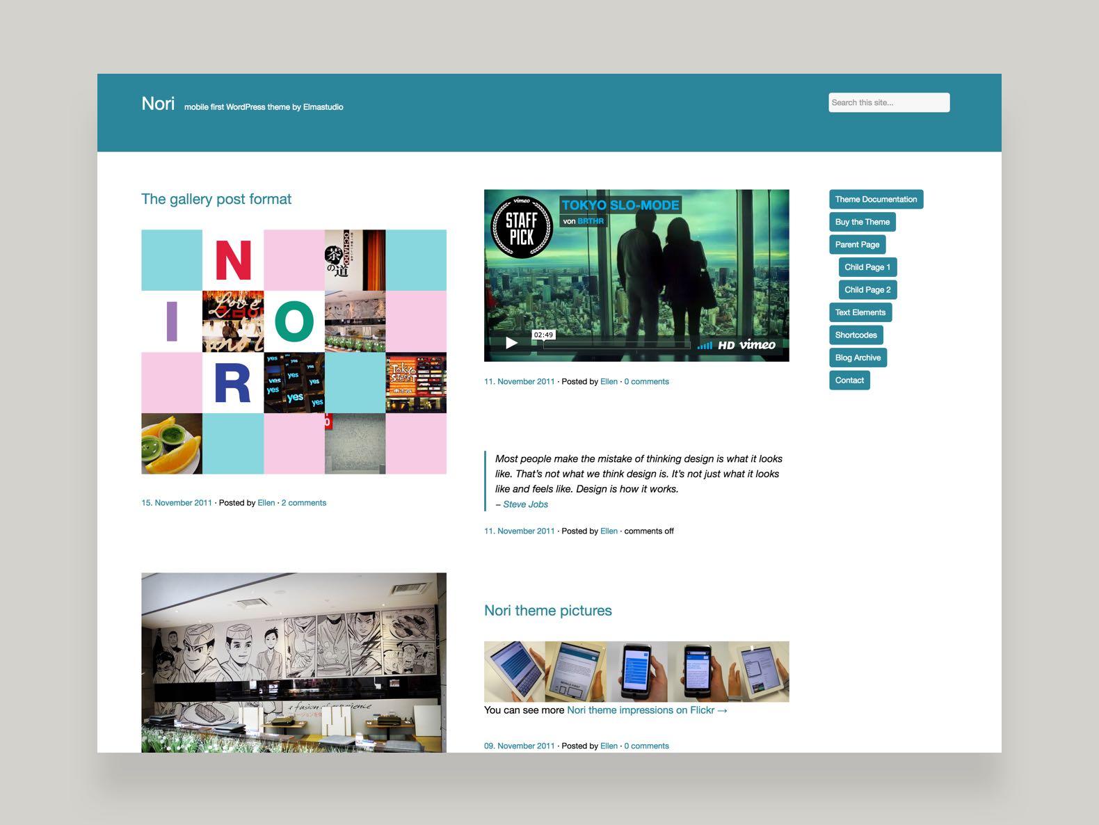 Nori WordPress Blog Theme