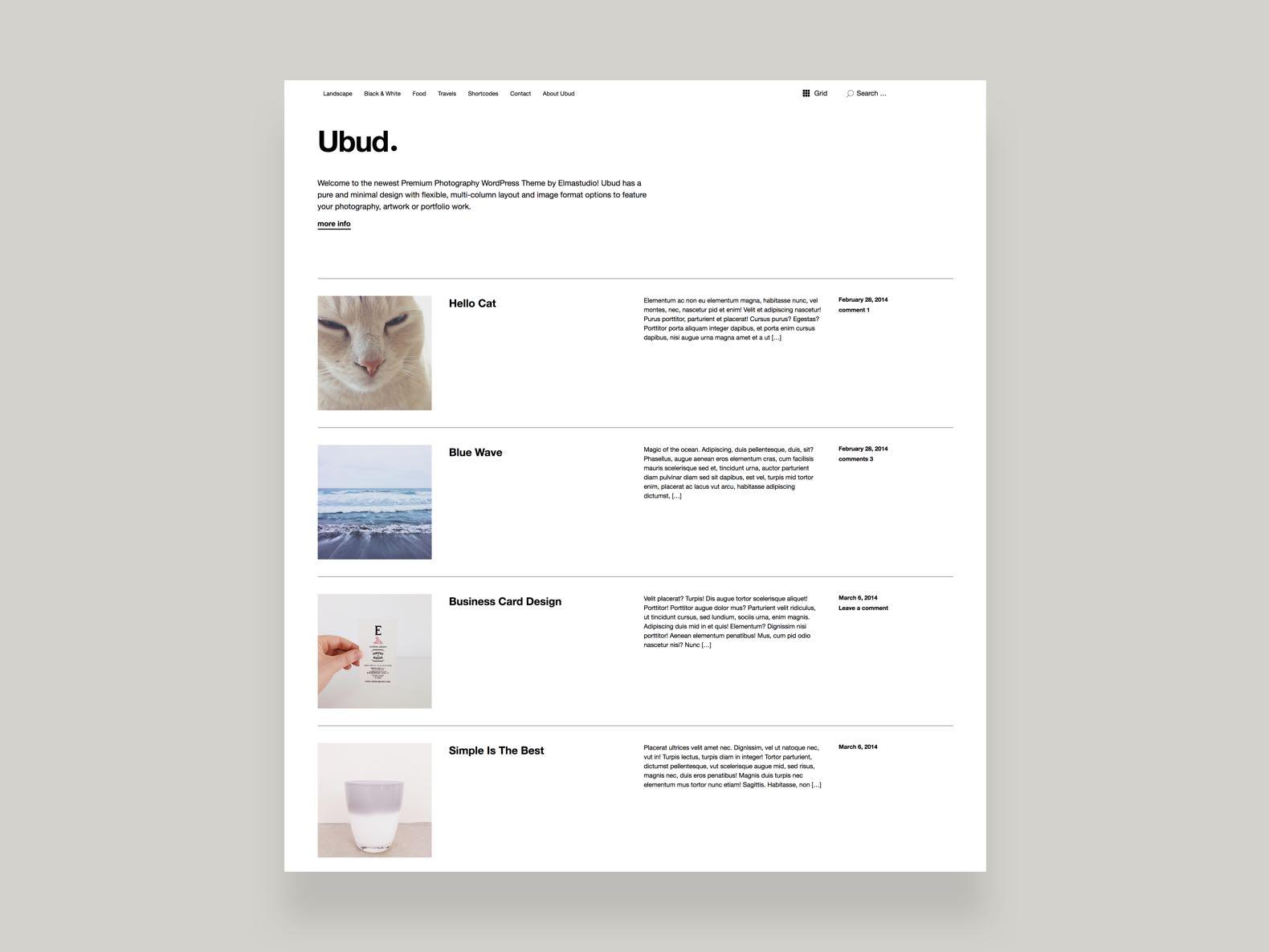 Ubud wordpress theme elmastudio ubudphotography blog magicingreecefo Gallery