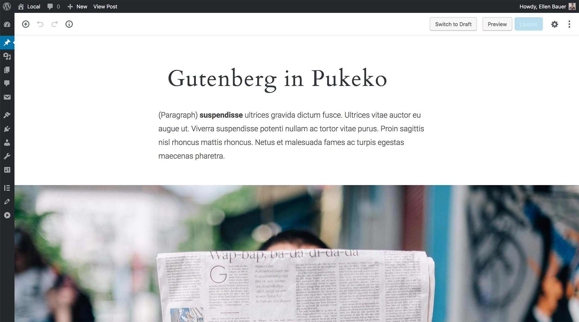 Gutenberg Editor Ansicht