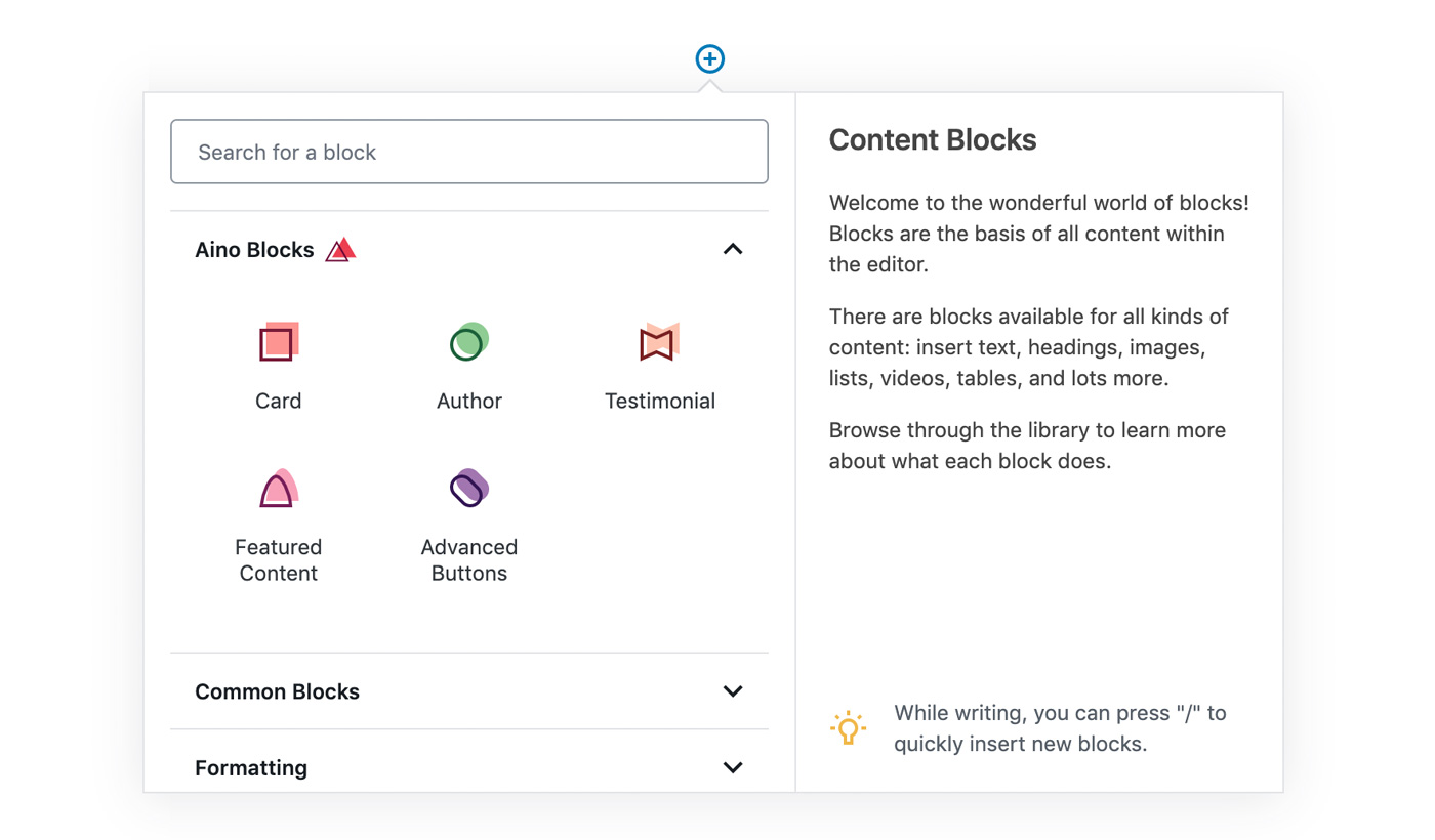 WordPress Editor Blocks Aino
