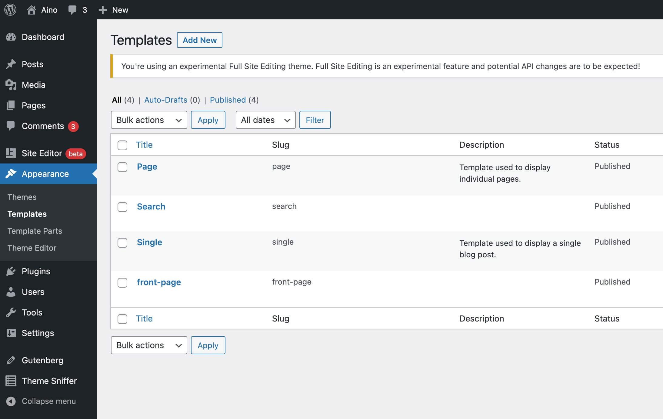 WordPress Full Site Editing FSE erklaert