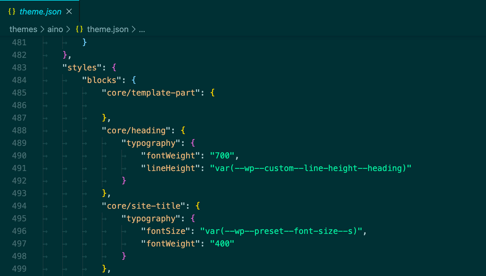 Per block settings in the theme json file.