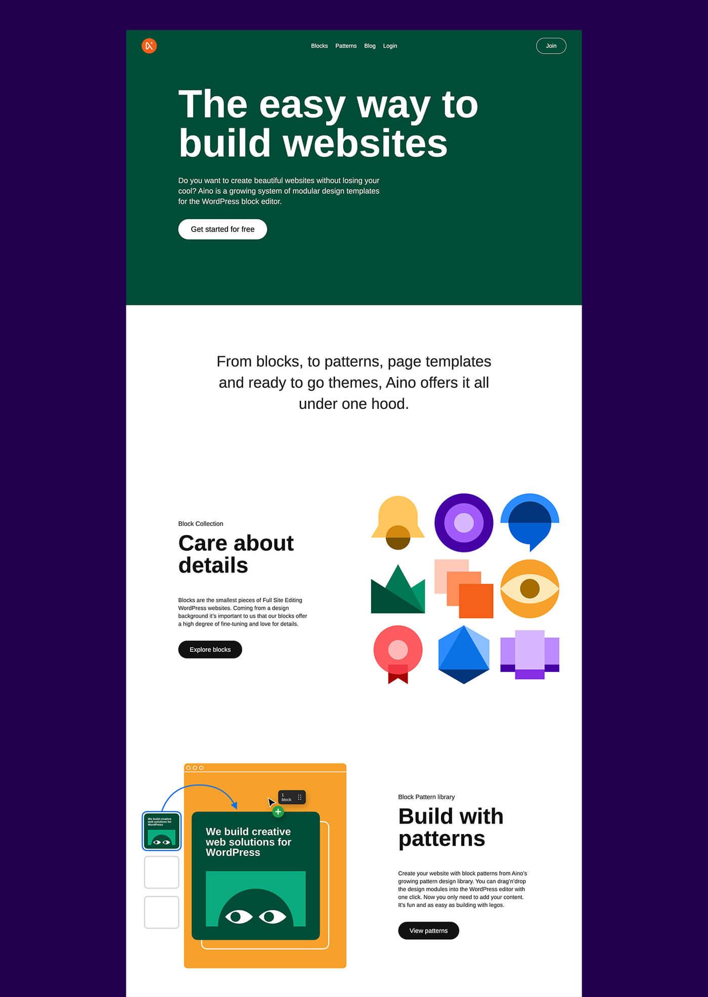 Die neue WP Aino Webseite